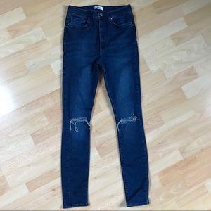 Forever 21 Ripped Knee Slim Leg Jeans